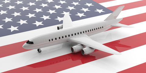 Airplane on USA flag background, view from above. 3d illustration