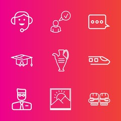 Premium set with outline vector icons. Such as graduation, university, call, boxing, technology, user, education, train, decoration, message, picture, sign, frame, competition, jug, college, center