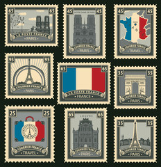 Vector set of postage stamps on the theme of travel in France with the French flag a variety of historical architectural sights landmarks