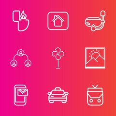 Premium set with outline vector icons. Such as air, house, fire, leather, taxi, cooler, mail, water, object, property, gas, vehicle, picture, building, window, cigarette, hierarchy, home, lighter, new