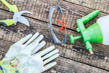 Pruner, pressure sprayer, garden gloves and protective glasses on wooden board