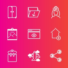 Premium set with outline vector icons. Such as furniture, professional, flight, people, web, office, nurse, social, waste, person, pretty, box, trash, phone, care, healthcare, house, share, garbage
