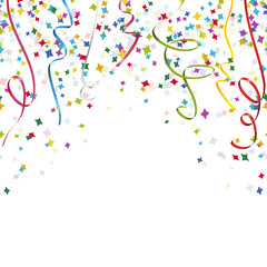 colored streamers and confetti background