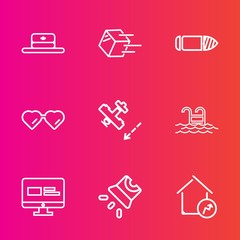 Premium set with outline vector icons. Such as military, shipment, travel, weapon, sunglasses, screen, water, web, property, style, summer, glasses, package, home, flight, shipping, projection, video