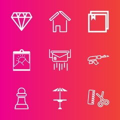Premium set with outline vector icons. Such as letter, architecture, jewel, army, fashion, machine, estate, chess, light, picture, message, pub, chessboard, photo, mail, weapon, hair, cafe, web, post