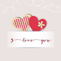 Love card. Cute hearts and a text message. Design elements for bridal showers, invitations