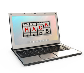 internet crime concept, computer being hacked over white background