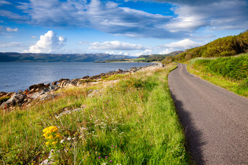 Scenic road along the Loch Caolisport at Kintyre peninsula Argyll and Bute Scotland UK