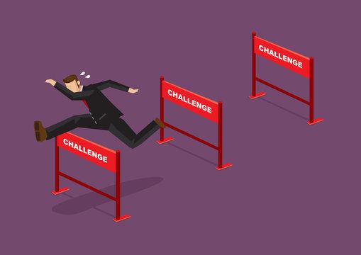 Overcoming Challenges Business Cartoon Vector Illustration