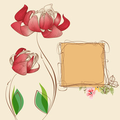 Fototapete - Floral card and cute frame for text
