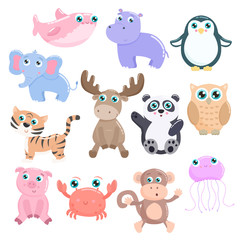 Cute animals vector set. Flat design.