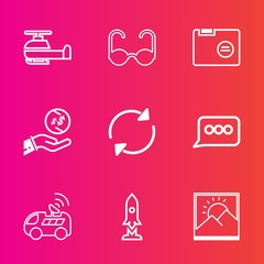 Premium set with outline vector icons. Such as sign, picture, rocket, transportation, sky, dollar, finance, refresh, transport, sunglasses, file, glasses, vision, helicopter, style, modern, aircraft