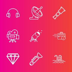 Premium set with outline vector icons. Such as video, antenna, sound, office, communication, diamond, stereo, business, crystal, star, science, bugle, jazz, equipment, pool, night, blue, summer, space