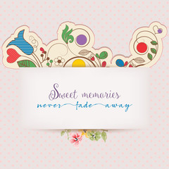 Fototapete - Floral greeting card with text message. Design elements for scrapbooks