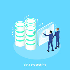 men in business suits work in a futuristic setting with data processing servers, an isometric image