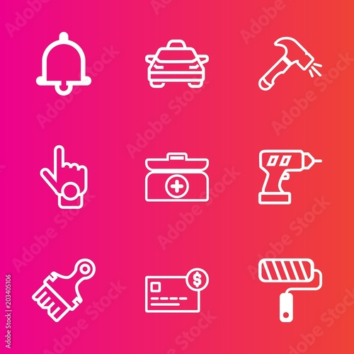 Premium set with outline vector icons  Such as card, call