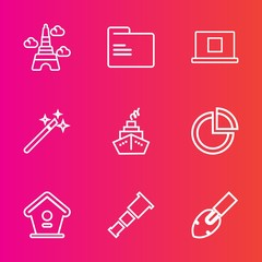 Premium set with outline vector icons. Such as astronomy, internet, famous, house, file, wooden, chart, open, paper, web, europe, paris, wand, profile, home, equipment, , tower, office, sky, telescope