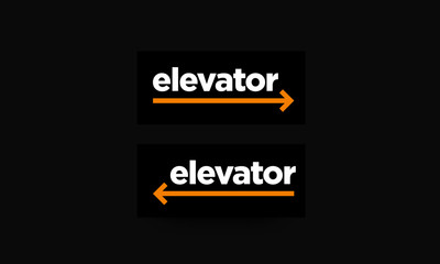 Elevator Direction Sign Vector Illustration with Left and Right Arrows