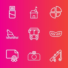 Premium set with outline vector icons. Such as sport, achievement, white, plug, masquerade, speed, certificate, window, building, liquid, usb, bottle, mask, cable, party, pie, technology, bus, frame
