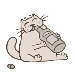 Cartoon cat holds a glass bottle of wine and drinks from it. Vector illustration