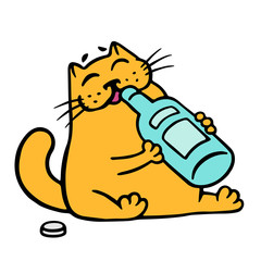 Happy cat drinks from a bottle of wine. Vector illustration.