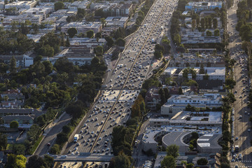 Aerial view of Ventura 101 Freeway near White Oak Ave in the San Fernando Valley area of Los Angeles, California.