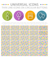 Set of Elegant Universal White MinimalThin Line Icons on Circular Colored Buttons on White Background