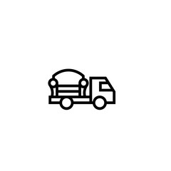 furniture shipping truck icon. in house object delivery concept. simple clean thin outline style design.