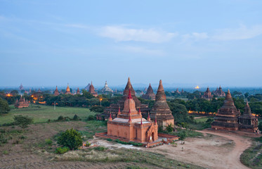 Aerial view of ancient temples in Bagan, Mandalay division, Myanmar