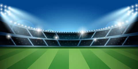 Soccer or football stadium with spotlight. Soccer arena.