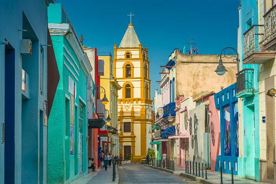 The colorful Calle Ignacio Agramonte in Camagüey, Cuba