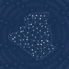 Algeria network, constellation style country map. Extra space style, modern design. Algeria network map for infographics or presentation.