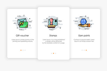 Onboarding screens design in gift and award concept. Modern and simplified vector illustration, Template for mobile apps.