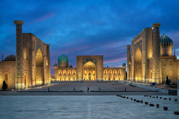 Samarkand at dusk. Historic Registan square with three madrasahs: Ulugh Beg, Tilya-Kori and Sher-Dor