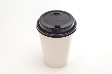 Photo realistic white travel mug, coffee cup. Isolated