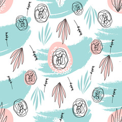Abstract Hand Drawn Floral doodle seamless pattern. Freehand flowers and leaves on grunge brush texture. Artistic unusual pastel print. Art background for textile, wrapping, wallpaper, invitation,