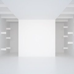 3d illustration. White interior of of not existing building with horizontal  extruded wall elements in perspective. Symmetrical view, render. Place for text.