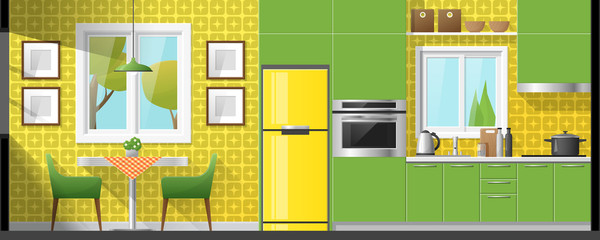 House interior section background including dining room and kitchen , vector , illustration
