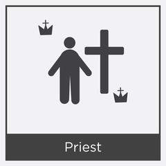 Priest icon isolated on white background
