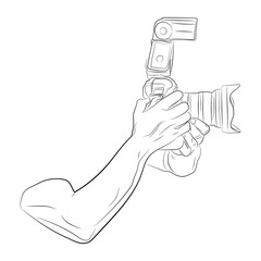 hands shooting on camera vector drawing illustration