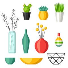 Home decoration vases flower pots, succulents and cacti