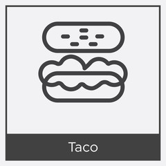 Taco icon isolated on white background