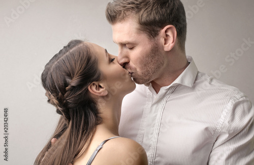 lovely couple kissing passionately stock photo and royalty free