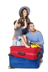 Family Travel Suitcase, Father Mother and Child Sitting on Luggage, People Isolated over White Background, Kid Looking Binocular
