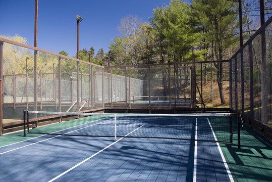 platform paddle tennis court at private suburban club