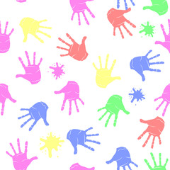 Colored Hands Seamless Pattern. Parts of Human Body Texture