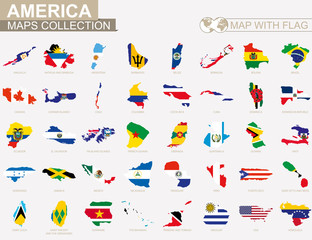 Map with flag American countries collection.