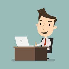 Businessman working on computer, Business concept, Vector illustration