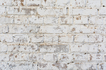 texture painted old brick wall, damaged uneven brickwork, abstract background