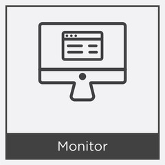 Monitor icon isolated on white background